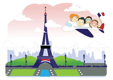 family holiday: family on a holiday to france Illustration
