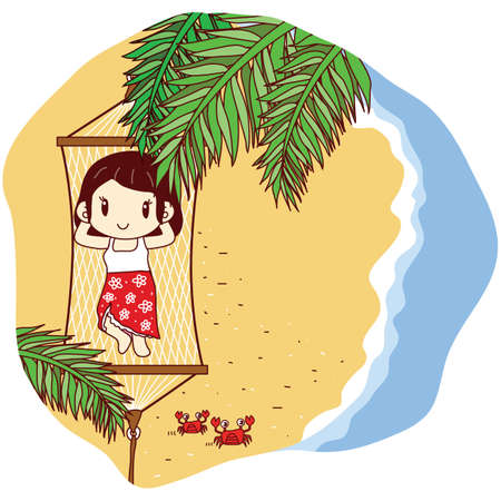 hummock: girl in hummock on beach