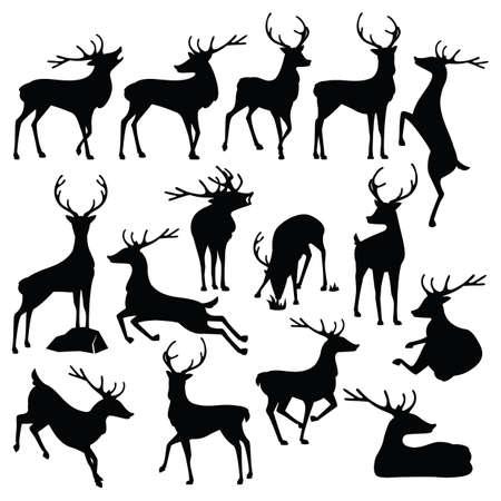 set silhouette cerfs
