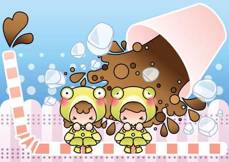 spilling: kids frightened of spilling cola Illustration