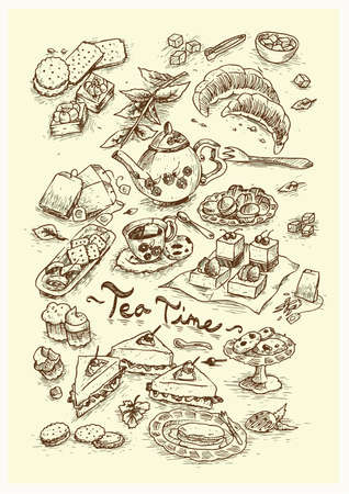 sugar cube: dessert tea time Illustration