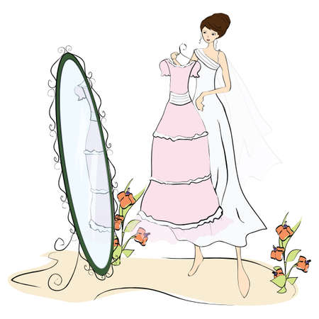 looking in mirror: bride holding dress and looking in mirror Illustration
