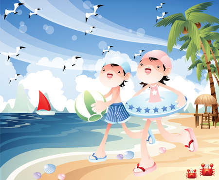 beach ball girl: children playing at the beach Illustration