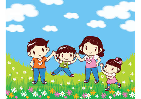 family playing: family playing in flowers garden Illustration