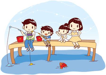 家族釣り竿で魚を捕る