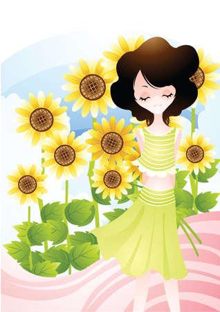 amongst: woman amongst sunflowers