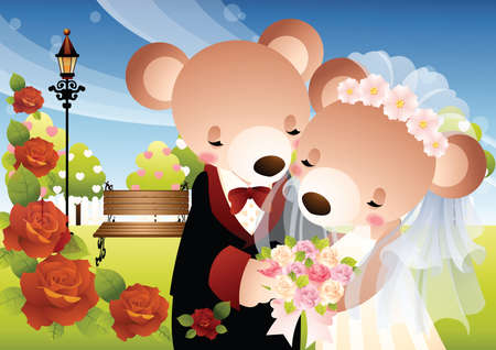 newlyweds: newlyweds teddy Illustration