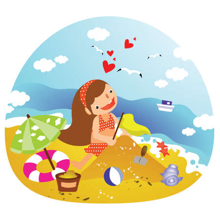 sandcastles: girl building sandcastles Illustration