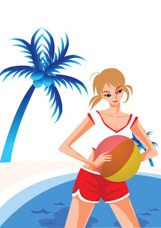 swimming pool woman: woman posing by the swimming pool Illustration