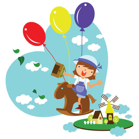 rocking horse: girl riding on a wooden rocking horse with balloons