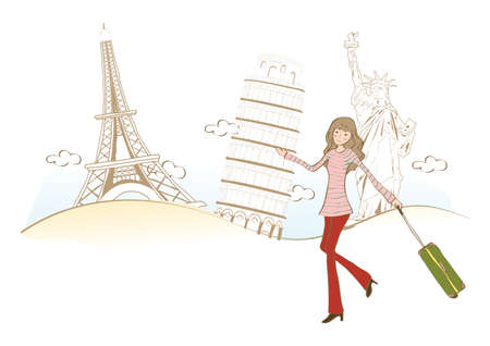famous places: woman travelling to famous places