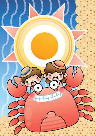 giant: kids riding giant crab Illustration
