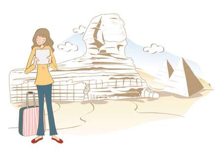 giza: woman at pyramid of giza Illustration