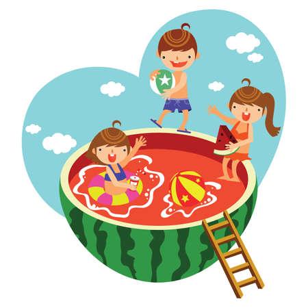 enfant maillot de bain: enfants jouant dans la piscine de la pastèque