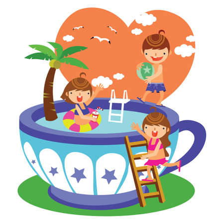 beach ball girl: children playing in the swimming pool Illustration