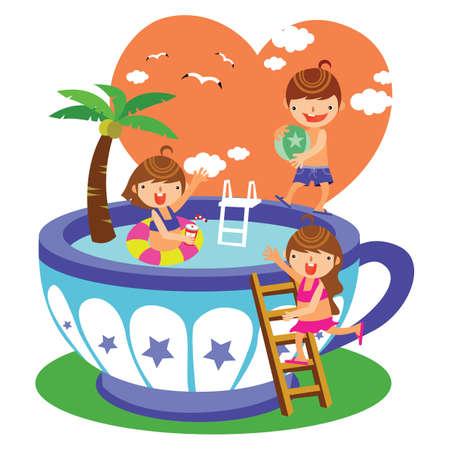 spelende kinderen in het zwembad Stock Illustratie
