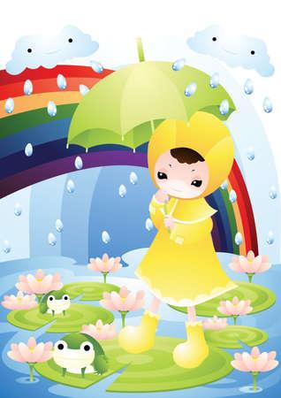 girl in rain: girl walking in the rain