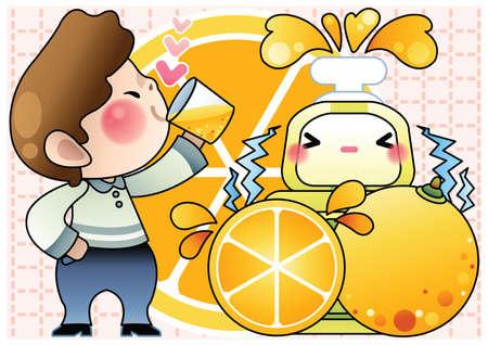 well being: boy drinking lemon juice