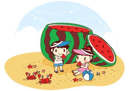 kids eating: kids eating giant watermelon on beach