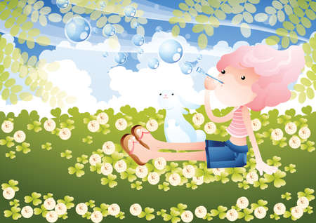 blowing: girl blowing bubbles