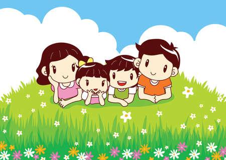 lying in: family lying in flowers garden