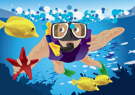 snorkelling: scuba diver catching starfish