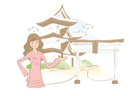 itsukushima: woman at itsukushima