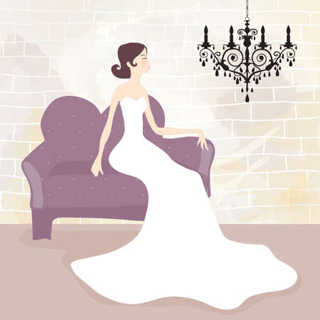 sitting sofa: bride sitting on sofa Illustration