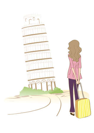 leaning tower: woman at leaning tower Illustration