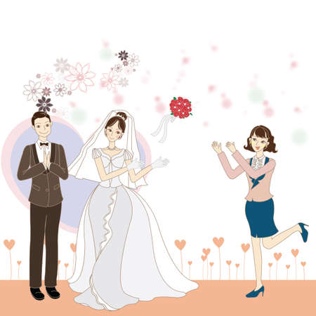 throwing: bride throwing bouquet Illustration