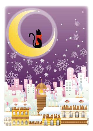 crescent: black cat sitting on crescent moon Illustration