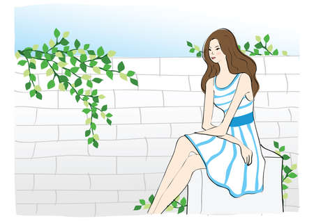 girl sitting: girl sitting by the wall