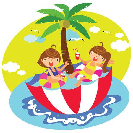 kinderen ontspannen in de paraplu zwembad Stock Illustratie