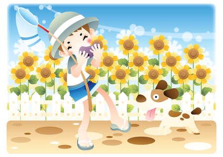 niño con un perro en el jardín de flores