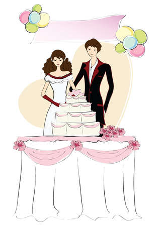 newlyweds: newlyweds with cake Illustration