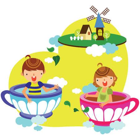 teacups: children floating in teacups Illustration