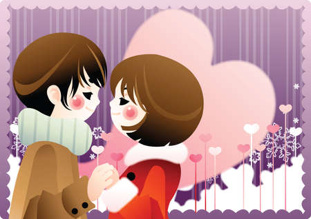 feelings and emotions: couple holding each other hands Illustration