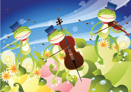 cellos: frogs playing musical instruments Illustration
