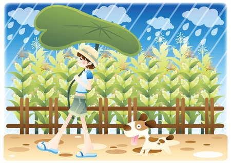 girl in rain: girl with a pet dog in the rain