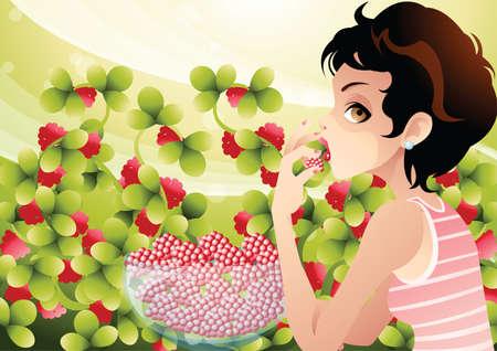 arandanos rojos: arándanos mujer comiendo