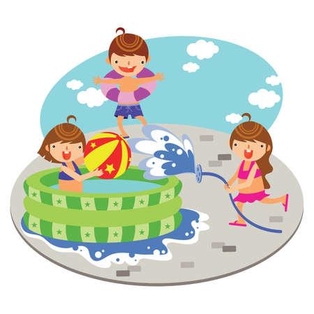 spelende kinderen in de opblaasbaar zwembad Stock Illustratie
