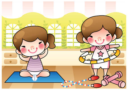 well being: girls exercising