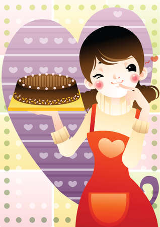 her: girl with a cake in her hand Illustration