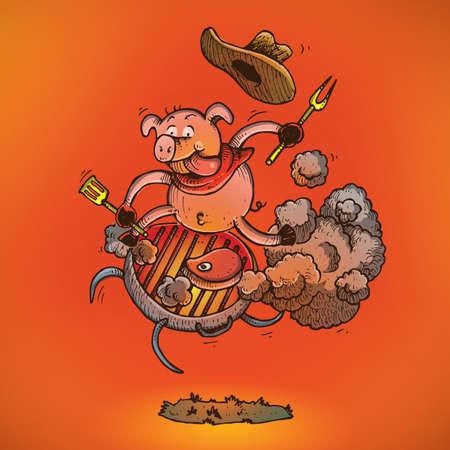 바베큐 그릴에 타고있는 돼지