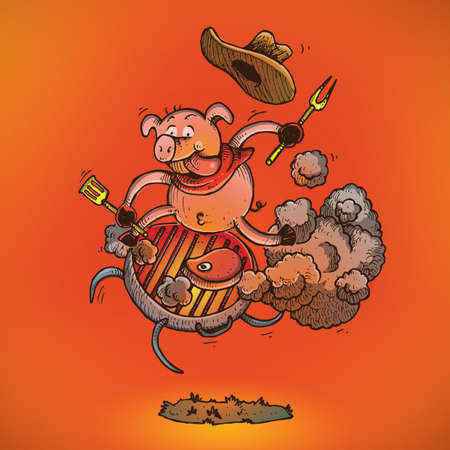 pig riding on a barbecue grill