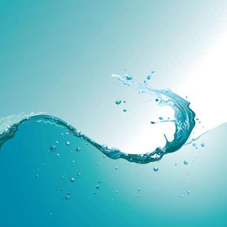 泡と水の波  イラスト・ベクター素材