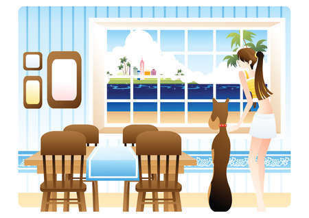 dining table: girl with a pet dog looking out the window Illustration