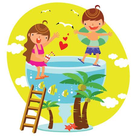 spelende kinderen bij het zwembad
