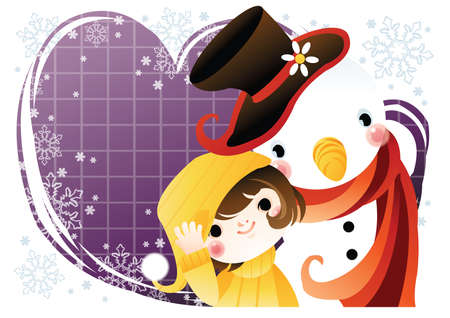 winter girl: girl with snowman