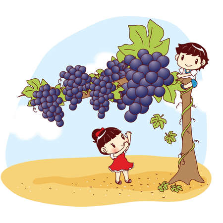 giant: kids plucking giant grapes